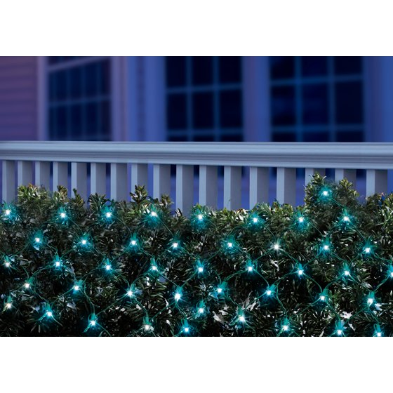 Holiday Time LED Net Light Set Green Wire Blue Bulbs, 150 Count ...