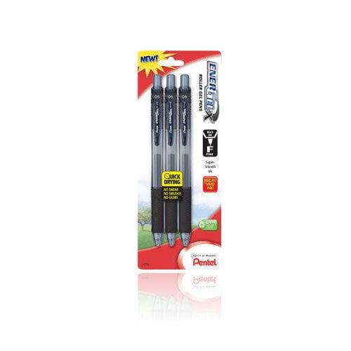 Pentel Fine Line EnerGel Liquid Gel Roller in Black (Set of 6)