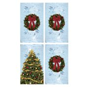 wowindow posters house full of christmas tree and wreaths frosted background christmas window decoration four 345 - Merry Christmas Window Decorations