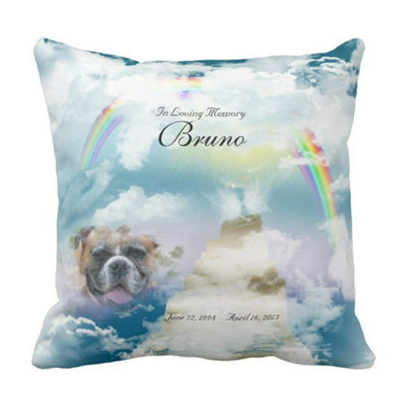- ARTJIA Loss Rainbow Bridge Pet Dog Loving Pillowcase Cover 20x20 inch