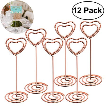 12 Pcs Rose Gold Heart Shape Photo Holder Stands Table Number Holders Place Card Paper Menu Clips for (Wedding Table Number Stand)