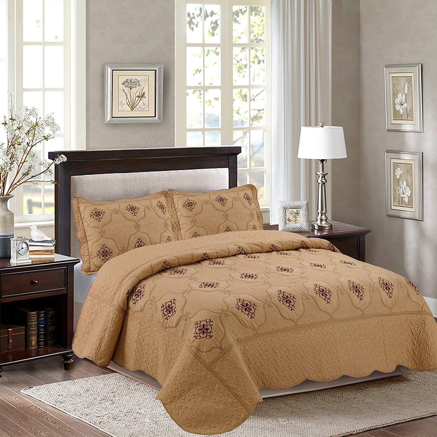 MarCielo 3-Piece Fully Quilted Embroidery Quilts Bedspreads Bed Coverlets Cover Set, Burgundy, Brown, Emma(Queen Size, Taupe)