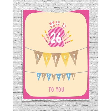 26th Birthday Decorations Tapestry, Anniversary Flag with Best Wishes Message Life Modern Print, Wall Hanging for Bedroom Living Room Dorm Decor, 40W X 60L Inches, Peach Hot Pink, by
