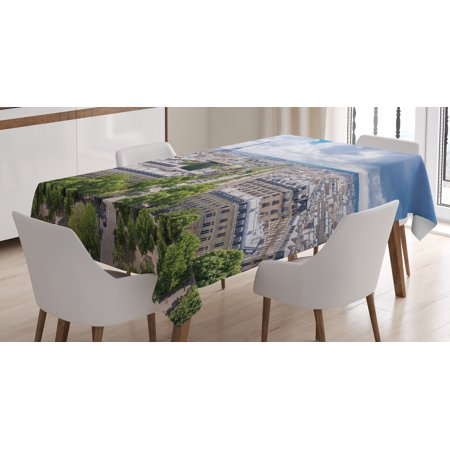European Tablecloth, Aerial Paris Eiffel Tower French Heritage Culture Architecture Image, Rectangular Table Cover for Dining Room Kitchen, 60 X 84 Inches, Light Blue Cream Green, by Ambesonne