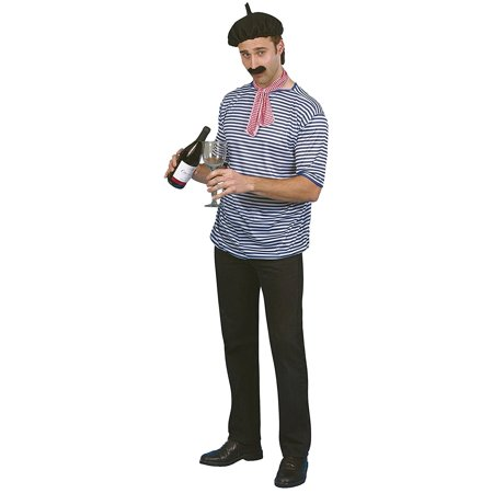 French Man Set, T-shirt, Beret, Scarf and Moustache, One Size, 21305, Smiffy's French Man Set, Including: T-shirt, Beret, Scarf and Moustache, Stripe T-shirt with red.., By Smiffy's](Moustache Sale)
