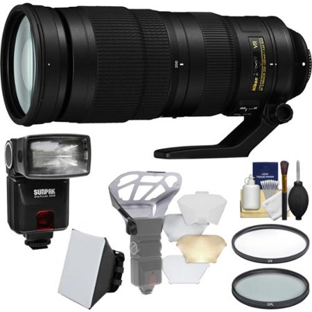 Nikon 200-500mm f/5.6E VR AF-S ED Nikkor Zoom Lens with iTTL Flash + Diffuser + Soft Box + Filters + Kit for DSLR Cameras