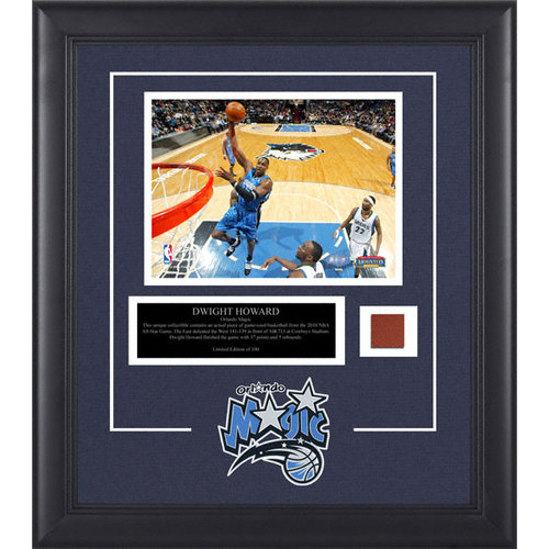 NBA - Dwight Howard Orlando Magic Framed 8x10 Photograph with Game Used 2010 All Star Game Basketball Piece and Descriptive Plate