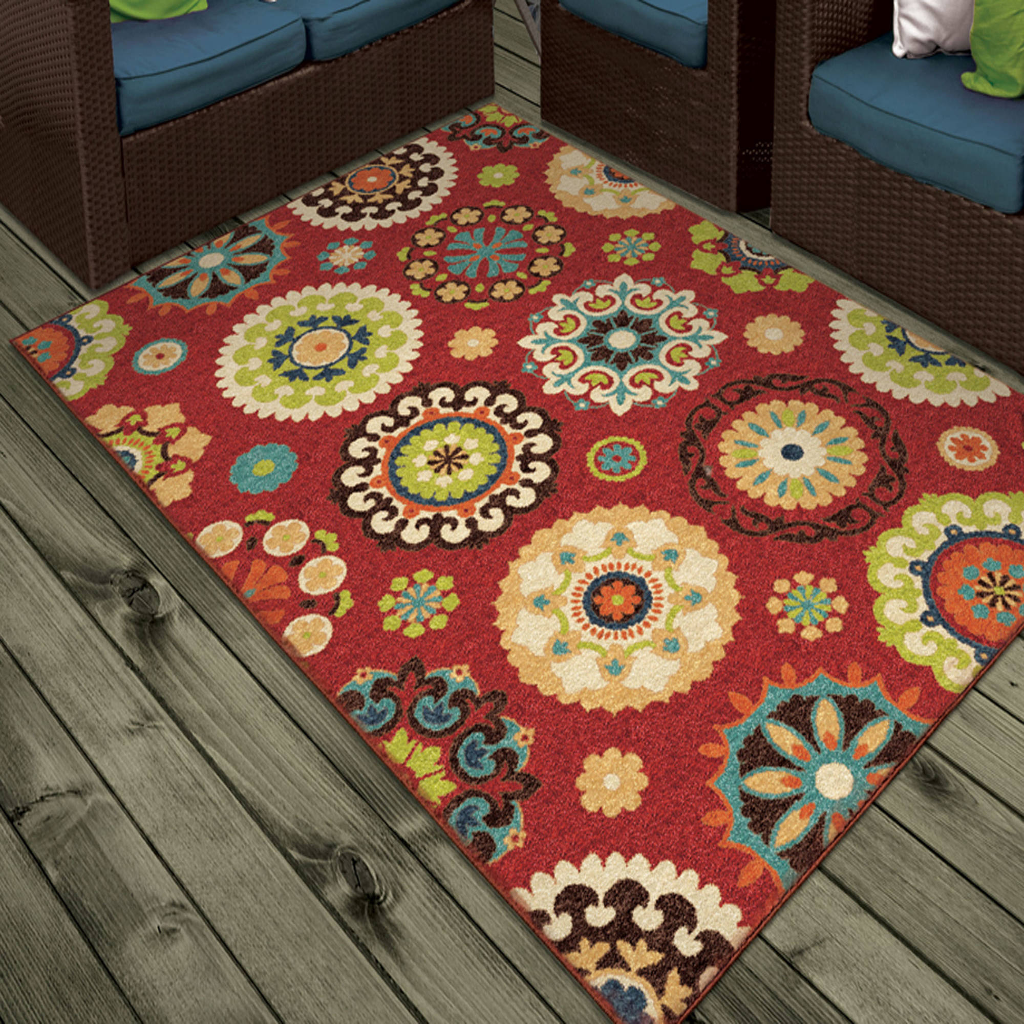 Orian Rugs Indoor Outdoor Medallion Salsalito Area Rug or Runner