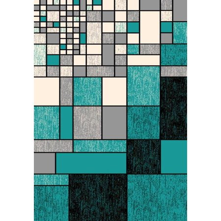 BELLA Modern Contemporary 5x8 5x7 Rug Abstract Area Rug 40122 Turquoise Blue ()