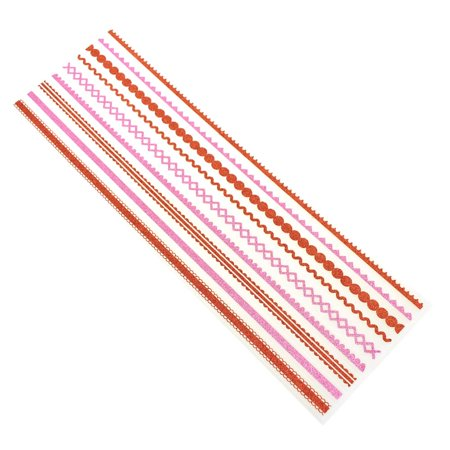 Glitter Border Fancy Clear Stickers, Pink & Red, 9-Piece Clear Glitter Stickers