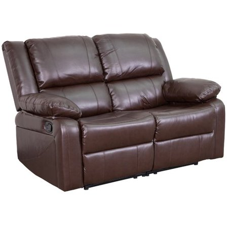 Sharp Series Leather - Flash Furniture Harmony Series Brown Leather Loveseat with Two Built-In Recliners