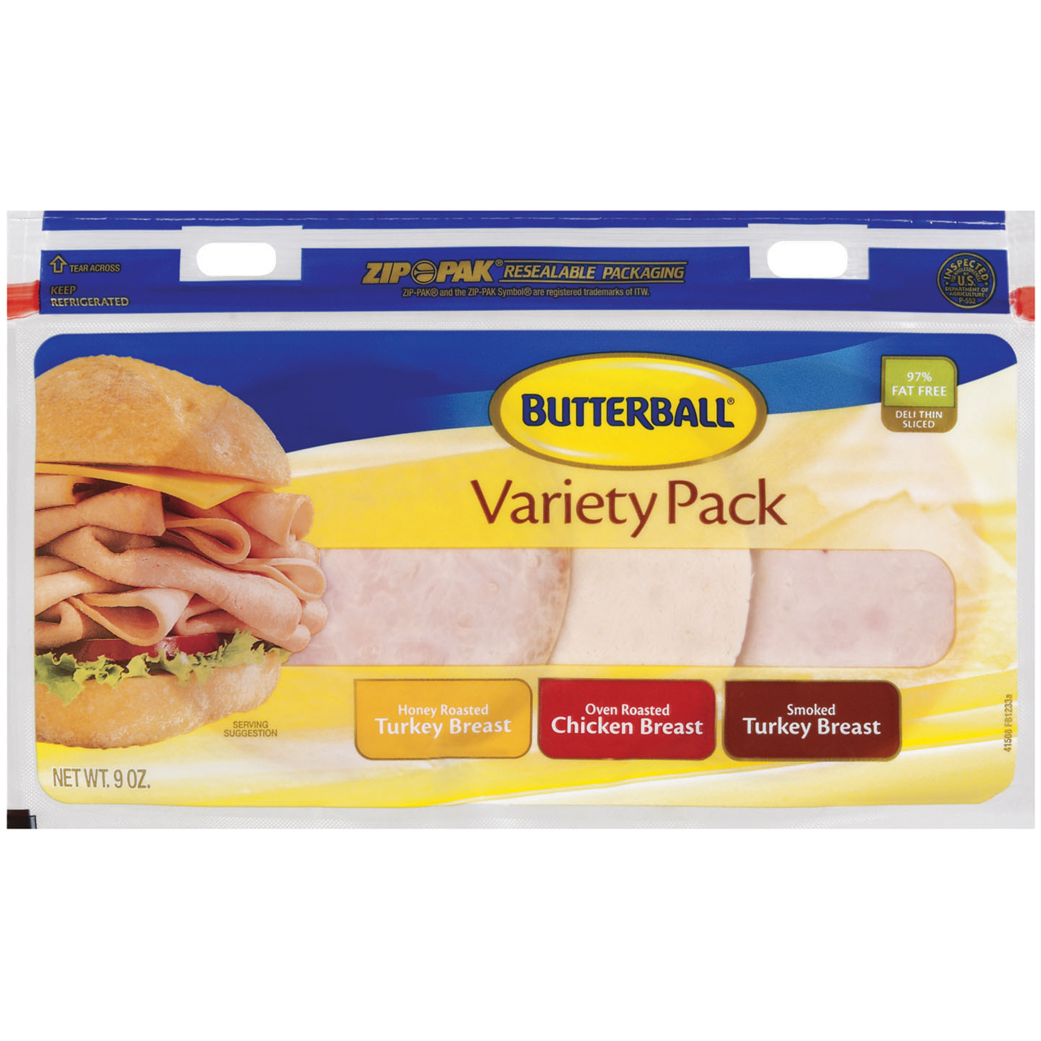 Butterball Turkey Breast & Chicken Breast Variety Pack 9 Oz Zip Pak