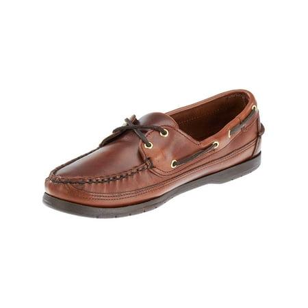 Sebago Mens Schooner Boat Shoes in Brown Oiled Waxy