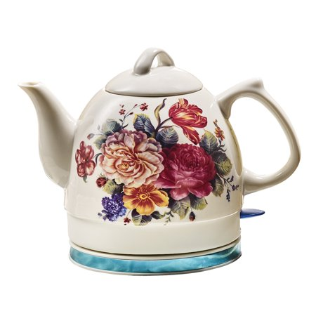 Kettle Stand (English Garden Electric Tea Kettle - White Ceramic with Floral Rose Print- 34 oz)