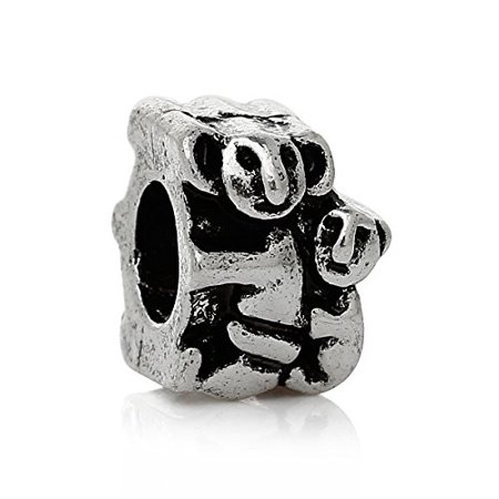 - Mom and Son Sloth Animals Hugging Charm Bead for Most European Snake Chain Bracelet