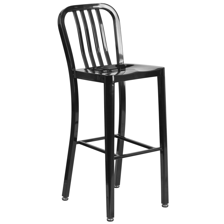 Flash Furniture 30'' High Metal Indoor-Outdoor Barstool with Vertical Slat Back, Multiple Colors