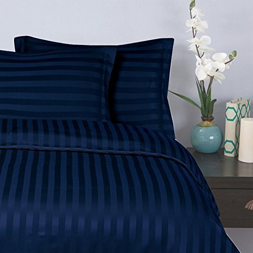 "Elegant Comfort® Wrinkle & Fade Resistant 1500 Thread Count - Damask STRIPES  Silky Soft 4pc Sheet Set, Up To 16"" Deep Pocket, Queen, Navy Blue"