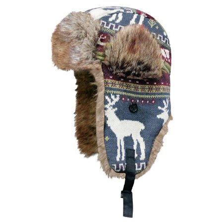 Dakota Dan Deer Knitted Animal Print Hat with Ear Flaps Button Under the Chin - Christmas Holiday Gift Ideas