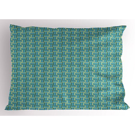 Abstract Pillow Sham Vintage Wavy Ethnic Swirling Stripes Symmetric Carpet Style Motif, Decorative Standard King Size Printed Pillowcase, 36 X 20 Inches, Pale Blue Teal Pale Green, by Ambesonne Carpeted Case Picture King Tripod