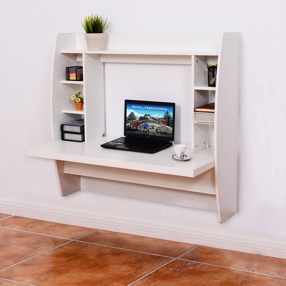 Floating Computer Desk costway white wall mount floating computer desk storage two shelf