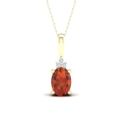 Imperial Gemstone 10K Yellow Gold Oval Cut Madeira Citrine 1/20 CT TW Diamond Halo Pendant Necklace