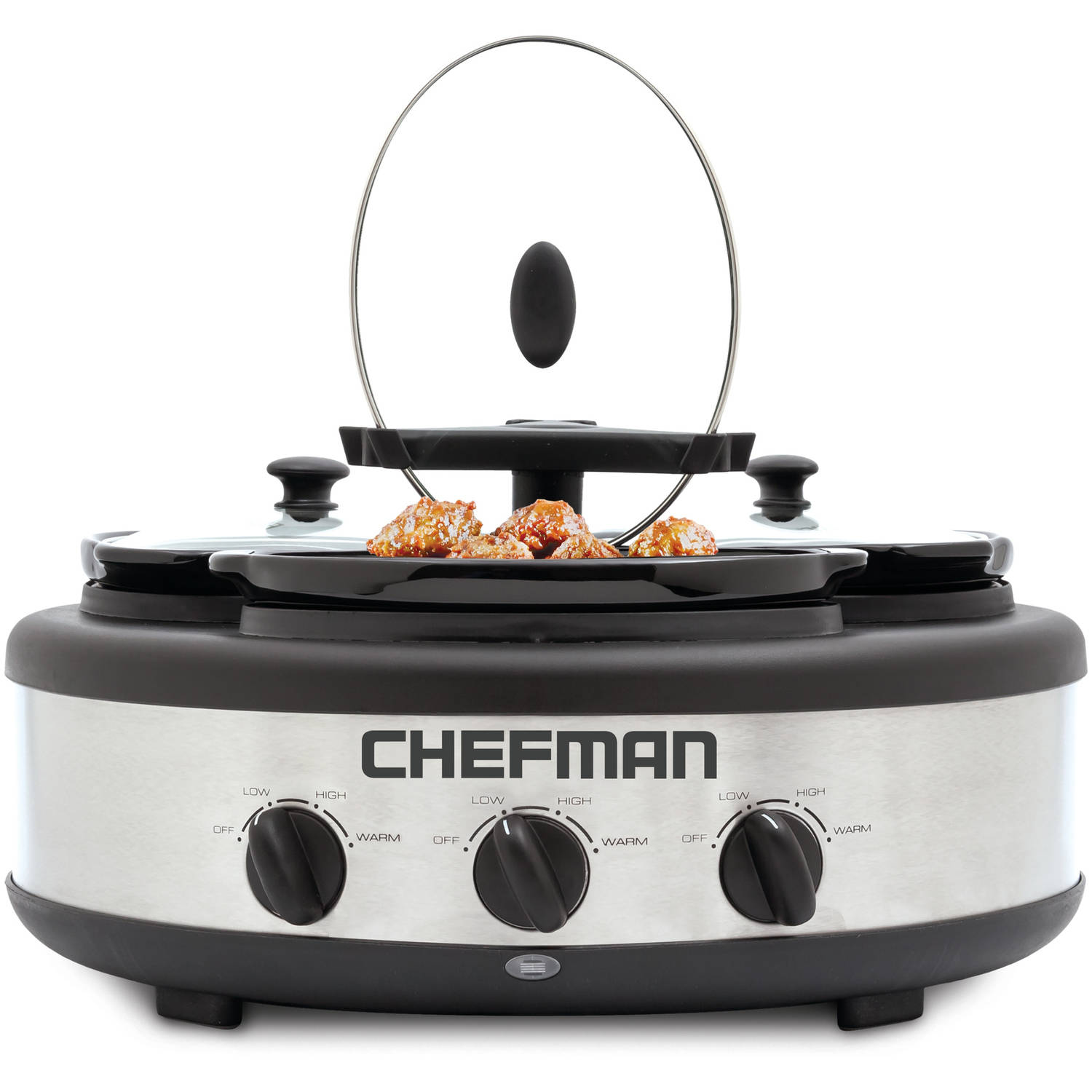 Chefman 3 x 1.5-Qt Triple Slow Cooker, Round with Oval Crocks