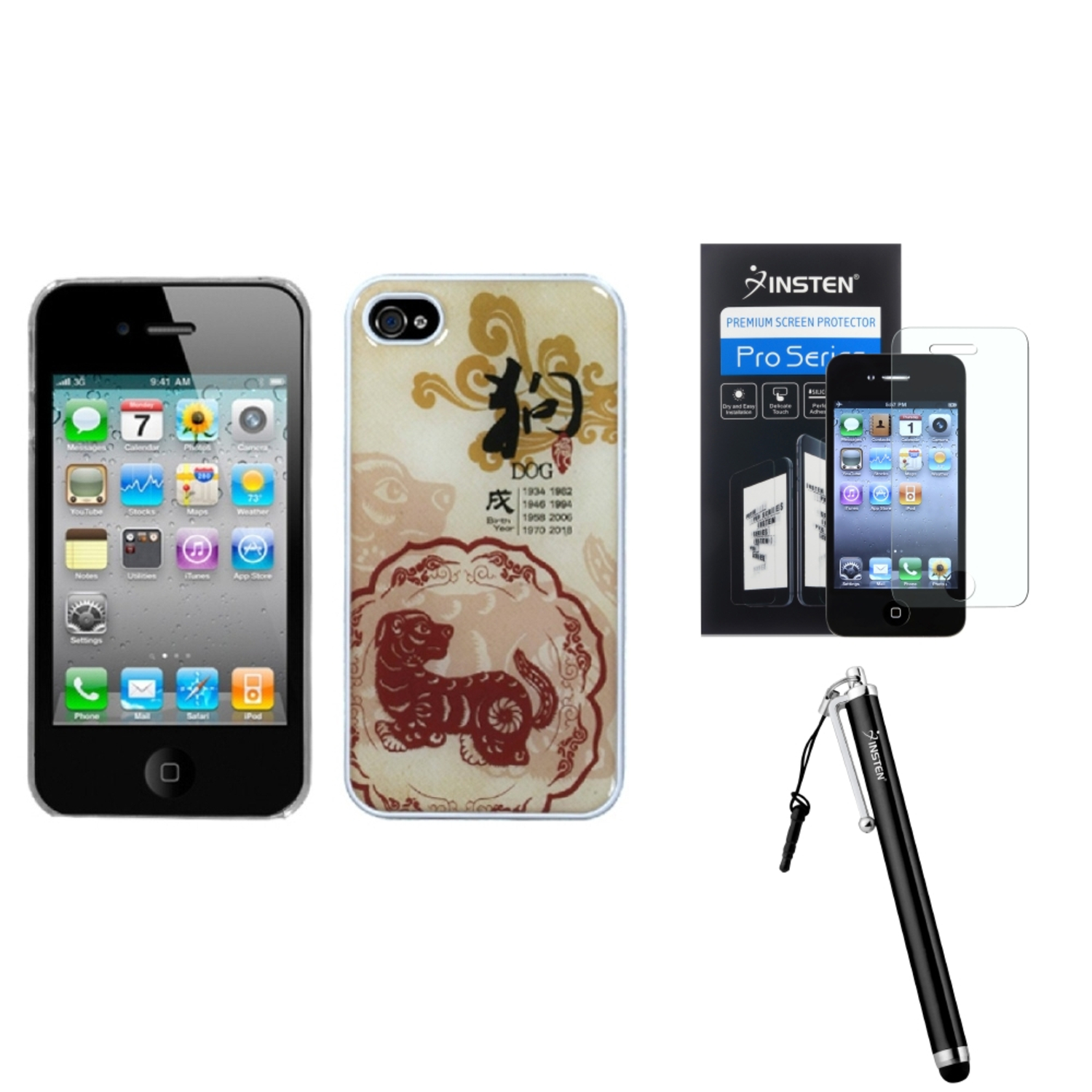 Insten Dog-Chinese Zodiac Collection Dream Back Case For iPhone 4 4S + Stylus + Screen Guard