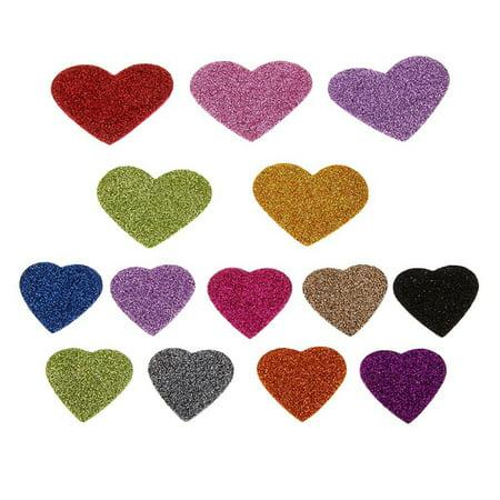 45pcs Glitter Foam Heart Shape Self Adhesive Sticker for Kids Craft (Mixed Color) - Heart Glitter