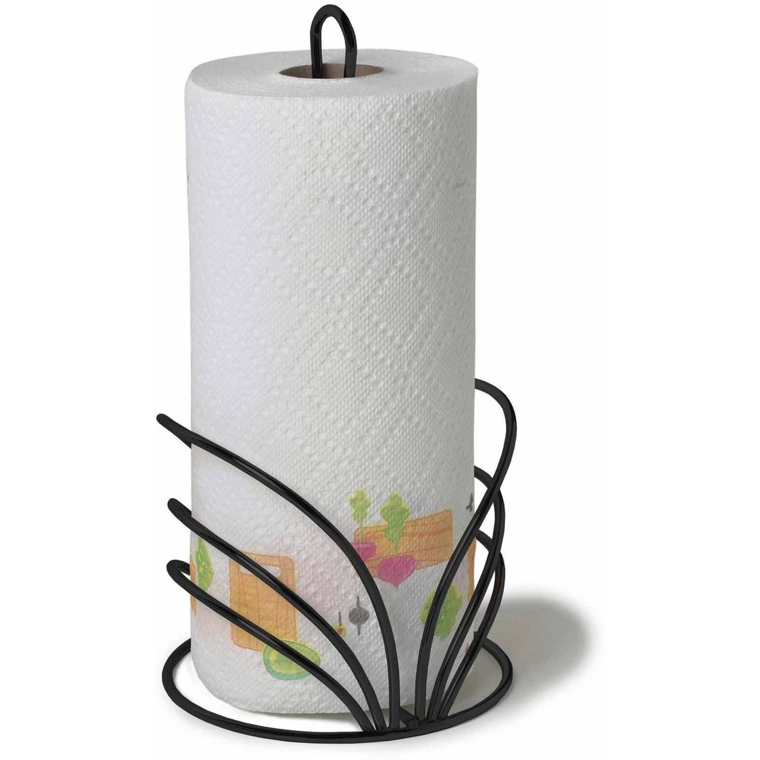 Spectrum Flower Paper Towel Holder, Black
