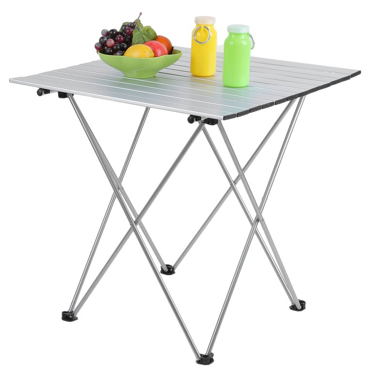 70*70CM Aluminum Folding Roll Up Table W-type Brackets Camping Picnic Table by YKS