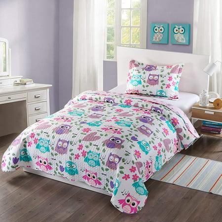 MarCielo 2 Piece Kids Bedspread Quilts Set Throw Blanket for Teens Boys Girls Bed Printed Bedding Coverlet, Twin Size, Purple Hoot (Twin) (Boy Girl Twin Halloween Ideas)
