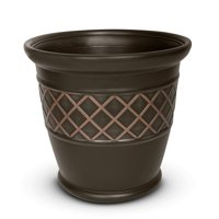 "Better Homes & Gardens 18"" Lattice Resin Planter, Indoor and Outdoor Pot, Java Brown"