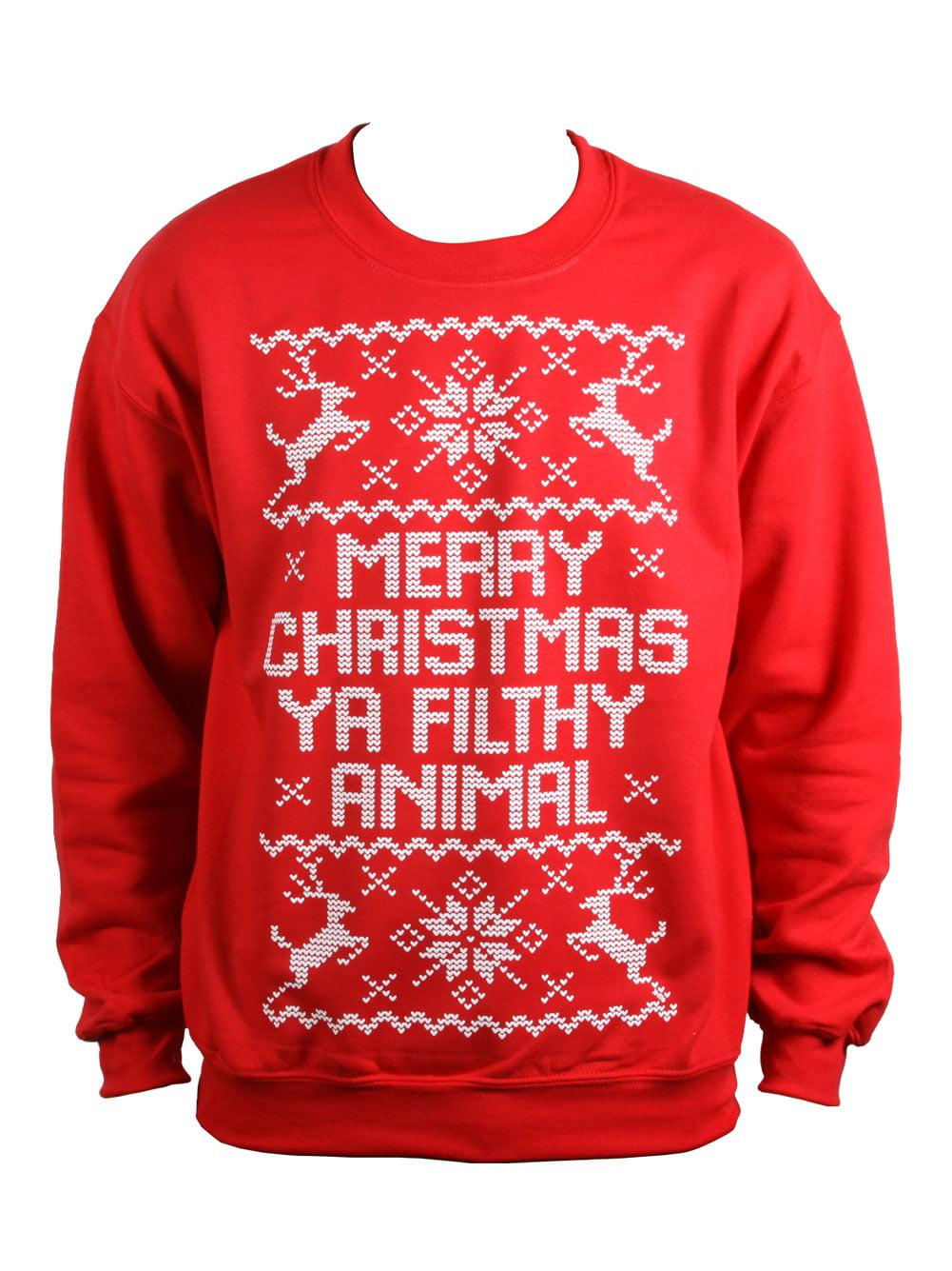 Mens Merry Christmas Ya Filthy Animal Ugly Christmas Sweater ...