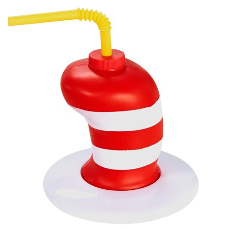 Dr Seuss Cat in the Hat Childrens Birthday Party Supplies - Striped Hat Plastic Sippy Cup with Straw (8)