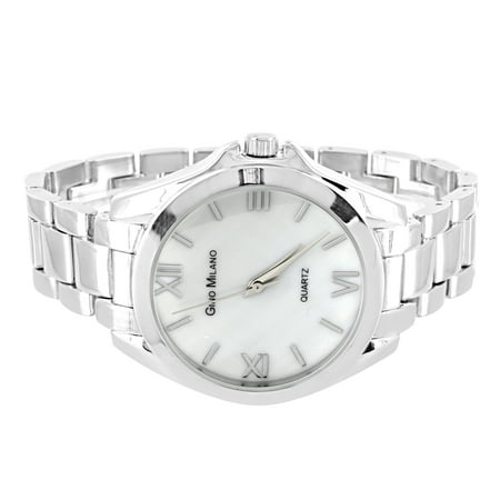 Gino Milano Watch Roman Numeral Hour Mark White Dial Silver Tone Water Resistant