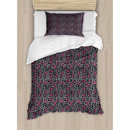 Leopard Print Duvet Cover Set, African Safari Animal Pattern Nature Inspired Fashion Cheetah Panther, Decorative Bedding Set with Pillow Shams, Pink Grey Black, by Ambesonne ()