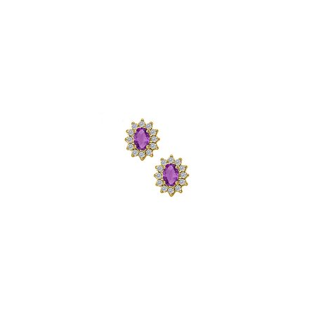 Fancy Oval Amethyst and Round CZs Halo Floral Stud Earrings - image 2 de 2