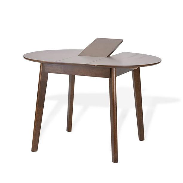 Extendable Round Dining Room Table Modern Solid Wood Medium Brown Color Walmart Com Walmart Com