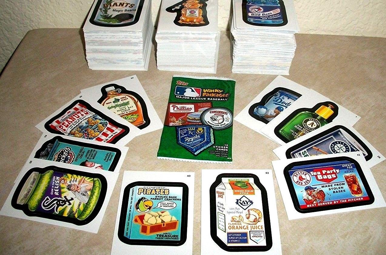 2016 Wacky Packages Baseball Series Lot of Thirty Different Sticker Cards by