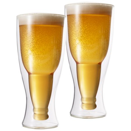 Double Double, Double Walled Upside Down Beer Bottle Pilsner Glass 350 ml set of - Pilsener Beer
