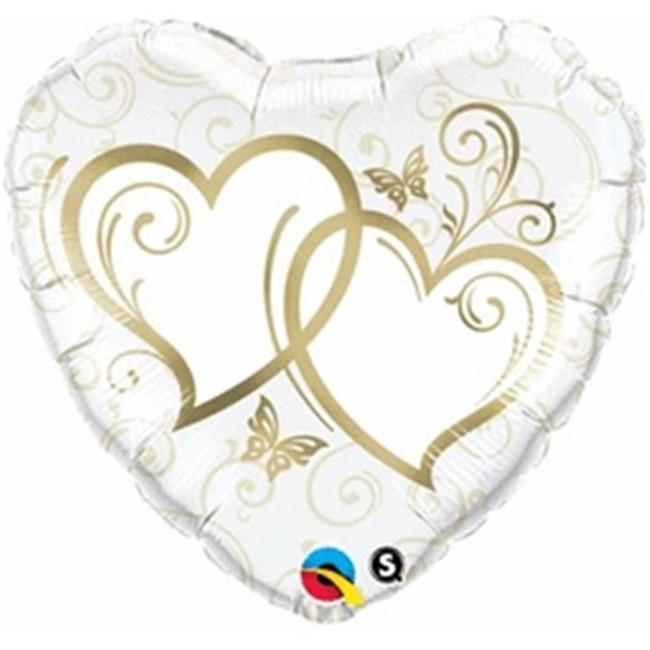 Anagram 71498 18 in. Entwined Hearts Gold Foil Balloon - Pack of 5