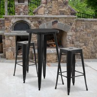 """Flash Furniture 24"""" Round Metal Indoor-Outdoor Bar Table Set with 2 Square Seat Backless Barstools, Multiple Colors"""