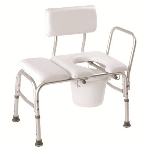 Carex Bathtub Transfer Bench Vinyl, Padded with Cut Out and Commode Pail, 300 lb Weight Capacity