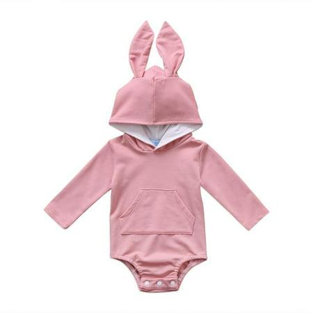 Animal Romper (Baby Boys Girls Easter Bunny Long Sleeve Bodysuit Cartoon Animal Rabbit Hooded Romper with Fur Ball )