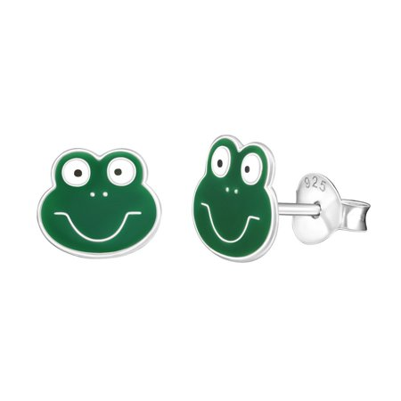 925 Sterling Silver Enamel Green Smiley Frog Face Stud - Stock Frog