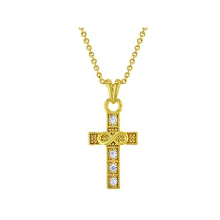 18k Gold Plated Infinity Cross First Communion Confirmation Pendant Necklace