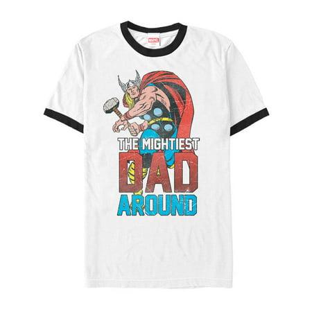 Marvel Men's Thor Mightiest Dad Ringer T-Shirt - Superhero And Villain Ideas