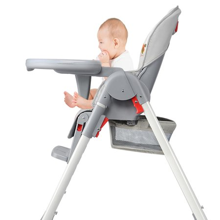 Baby High Chair With Basket, Booster Toddle Highchair, 6-Position Adjustable Seat Height, 3-Position Adjustable Food Tray - image 4 of 12