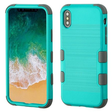 Insten Tuff Hard Dual Layer Brushed TPU Cover Case For Apple iPhone 10 iPhone X 2017 - Teal/Gray (Bundle with Screen Privacy Filter)
