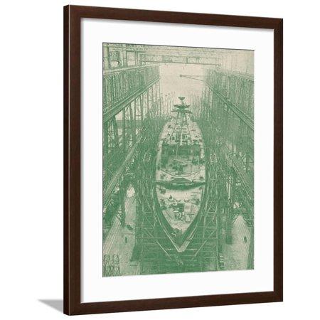 A light cruiser under construction, c1917 (1919) Framed Print Wall